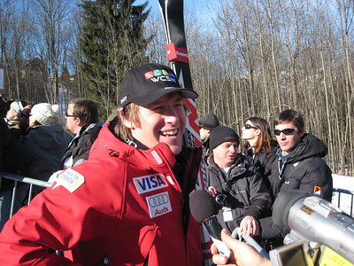 Marco Sullivan talks with print media after winning the downhill in Chamonix (Doug Haney/U.S. Ski Team)