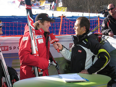 Marco Sullivan goes live with ORF after winning the downhill in Chamonix (Doug Haney/U.S. Ski Team)