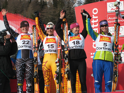 (l-r) Lindsey Vonn, Canadian Britt Janyk, Julia Mancuso and Tina Maze of Slovenia finished at the awards after finishing 4-5-6-7 in the second of two super Gs in Cortina. Women's FIS Audi World Cup super G, Cortina d'Ampezzo, Italy. (Doug Haney/U.S. Ski Team)