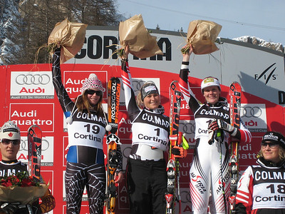 Julia Mancuso (l-r), Maria Holaus and Nicole Hosp on the first super G in Cortina (Doug Haney/U.S. Ski Team)