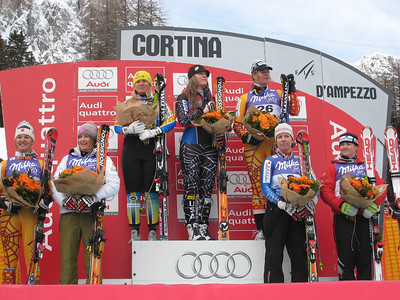 Julia Mancuso (second from left) and Lindsey Vonn (center) light it up in Cortina (Doug Haney/U.S. Ski Team)