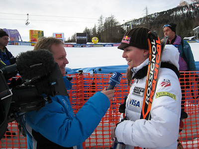 Lindsey Vonn interviews with German television, in German, after finishing fourth in the final super G in Cortina (Doug Haney/U.S. Ski Team)