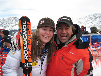 Lindsey Vonn poses with Italian skiing great Kristian Ghedina after Vonn won the downhill in Cortina (Doug Haney/U.S. Ski Team)