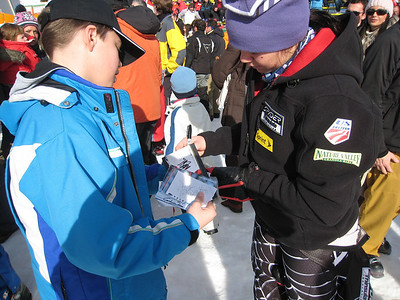 Leanne Smith signs autographs for fans in Cortina after the first of two super Gs (Doug Haney/U.S. Ski Team)