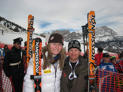 Lindsey Vonn poses with her Rossignol serviceman Niclas Cronsell after winning the downhill in Cortina (Doug Haney/U.S. Ski Team)