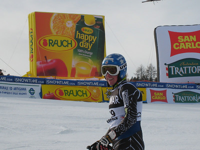 Stacey Cook smiles after rocketing to 13th in the first of two super Gs from Cortina (Doug Haney/U.S. Ski Team)