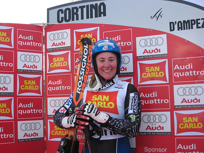 Stacey Cook spent some time in the leaders box during the second super G in Cortina. Women's FIS Audi World Cup super G, Cortina d'Ampezzo, Italy. (Doug Haney/U.S. Ski Team)