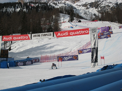 Libby Ludlow leans across the finish line in the first of two super Gs in Cortina (Doug Haney/U.S. Ski Team)