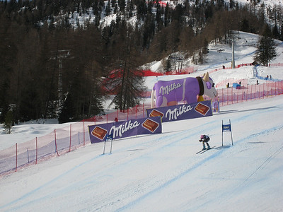 Megan McJames screams to the finish in the first of two super Gs at Cortina (Doug Haney/U.S. Ski Team)