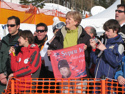 Julia Mancuso's mom Andrea leads the Super Jules fan club in Cortina (Doug Haney/U.S. Ski Team)
