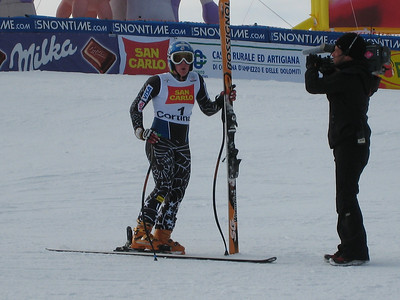 Stacey Cook catches her breath after setting the pace in the second super G in Cortina (Doug Haney/U.S. Ski Team)