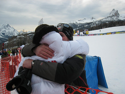 Lindsey Vonn gets a hug from coach Chip White after winning the downhill in Cortina (Doug Haney/U.S. Ski Team)