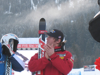 Two-time Olympian Marco Sullivan (Squaw Valley, CA) at awards ceremony for the Kitzbuehel SG on Jan. 18, 2008. (Credit: U.S. Ski Team/Juliann Fritz)