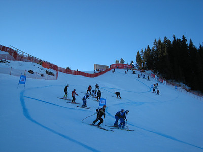 Racers at the top of the downhill course during inspection for the first of two official training runs in Kitzbuehel. (Photo credit: U.S. Ski Team/Doug Haney)