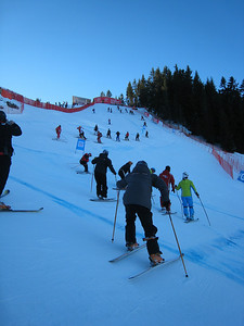 Racers do downhill inspection on the famed Hahnenkamm course before the first official DH training run on Jan. 15 in Kitzbuehel. (Photo credit: U.S. Ski Team/Doug Haney)