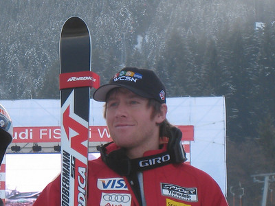 Two-time Olympian Marco Sullivan (Squaw Valley, CA) at awards ceremony for the Kitzbuehel SG on Jan. 18, 2008. He charged from a 52nd start spot to finish 10th. (Credit: U.S. Ski Team/Juliann Fritz)