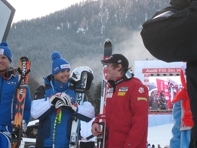 Marco Sullivan (Squaw Valley, CA) and Italy's Peter Fill are all smiles at the awards ceremony for the Kitzbuehel SG on Jan. 18, 2008. Credit: U.S. Ski Team/Juliann Fritz)