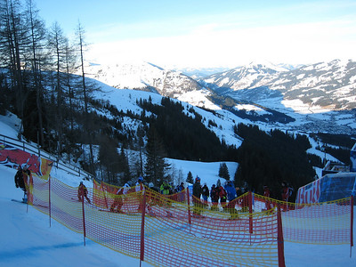 View heading into the first jump, the Mausefalle (mouse trap), on the famed Hahnenkamm downhill. (Photo credit: U.S. Ski Team/Doug Haney)