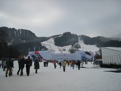 Fans head to the finish for the start of the 78th Hahnenkamm race weekend in Kitzbuehel. (Credit: U.S. Ski Team/Juliann Fritz)