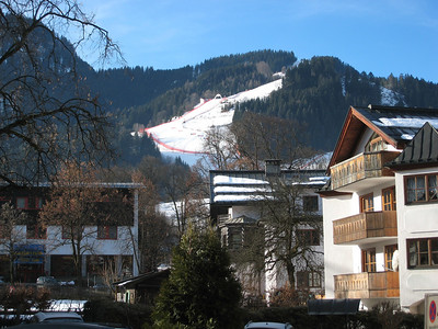 Glimpse of the harrowing Hahnenkamm downhill from town. (Photo credit: U.S. Ski Team/Doug Haney)