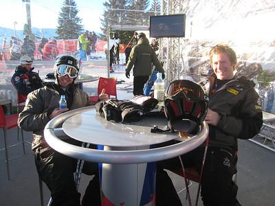 Craig Branch (Australia) and Marco Sullivan (Squaw Valley, CA) await the start of downhill training at the 68th running of the Hannenkamm downhill in Kitzbuehel, Austria. Photo credit: U.S. Ski Team/Doug Haney