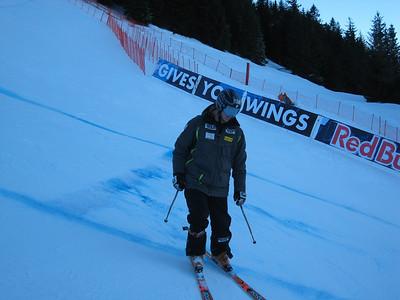 Marco Sullivan at offical downhill inspection in Kitzbuehel. Photo credit: U.S. Ski Team/Doug Haney