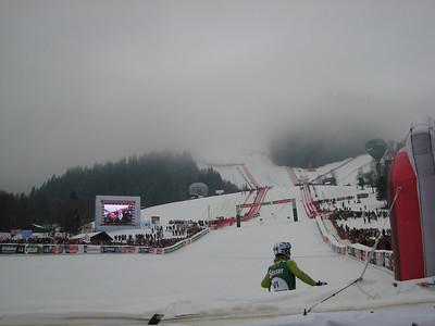 Fog hovered at the start of the Kitzbuehel super G (Credit: U.S. Ski Team/Juliann Fritz)