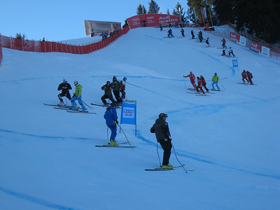 Taking it all in. Racers at the top of the downhill course during inspection at Kitzbuehel. (Photo credit: U.S. Ski Team/Juliann Fritz)