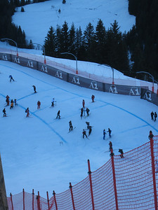 Looking down from the first jump, the Mausefalle, of the Hahnenkamm downhill. (Photo credit: U.S. Ski Team/Juliann Fritz)
