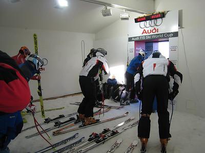 Racers get ready in the start house at Kitzbuehel (Photo credit: U.S. Ski Team/Doug Haney)