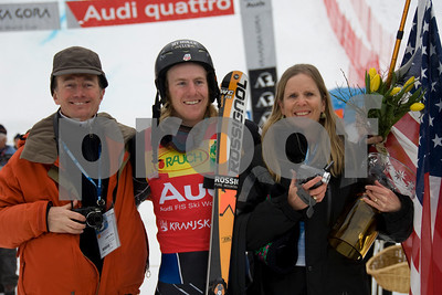 Ted Ligety with his mother, Cyndi Sharp and with his father, Bill Ligety at the FIS World Cup in Kranjska Gora, Slovenia. Photo © Gary Dickey