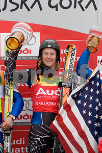 Ted Ligety finishes first on March 8, at the Giant Slalom races held in Kranjska Gora Slovenia.  Photo © Gary Dickey