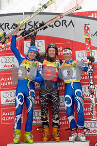 Ted Ligety (center) on March 8, at the Giant Slalom races held in Kranjska Gora Slovenia. Placing second was Manfred Moelgg (bib 4) of Italy. Third place went to Massimiliano Blardone (bib 2), also of Italy. Photo © Gary Dickey