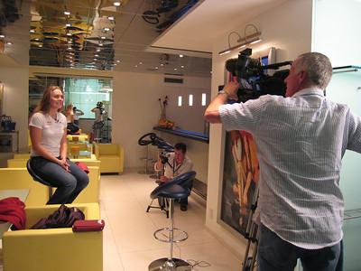 Lindsey Vonn gets set for an interview with the United Kingdom's Channel 4 (credit: Doug Haney/U.S. Ski Team)