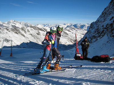 """Resi Stiegler and Ted Ligety warm up for the World Cup opener at the """"icebox"""" on the Rettenbach Glacier in Soelden, Austria (credit: Doug Haney/U.S. Ski Team)"""