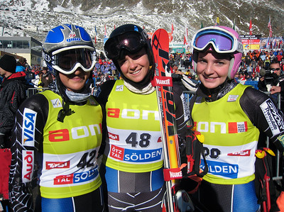 U.S. Ski Team racers pose in the finish of Audi FIS Ski World Cup, in Soelden, Austria, including (l-r) Caitlin Ciccone, Katie Hitchcock and Megan McJames.