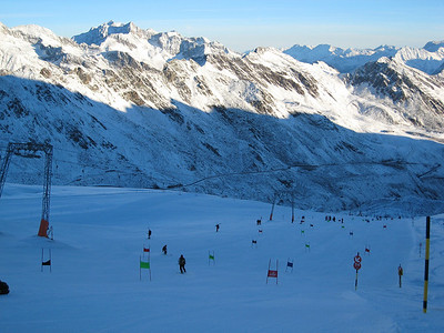 """A view from the top of the """"icebox"""" at Soelden, where U.S. men's and women's teams trained for the opening World Cup giant slalom (credit: Doug Haney/U.S. Ski Team)"""