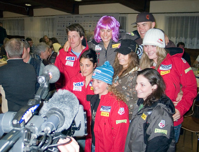 The U.S. Ski Team mugs for the cameras at the opening press conference of the Audi FIS Ski World Cup, Soelden, Austria