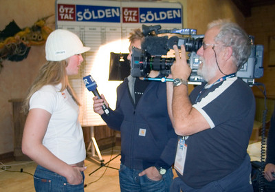 Lindsey Vonn does an interview at the opening press conference of the Audi FIS Ski World Cup, Soelden, Austria.