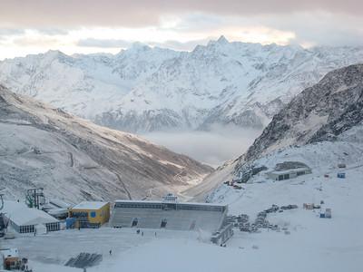 The finish arena high above the village of Soelden (credit: Doug Haney/U.S. Ski Team)