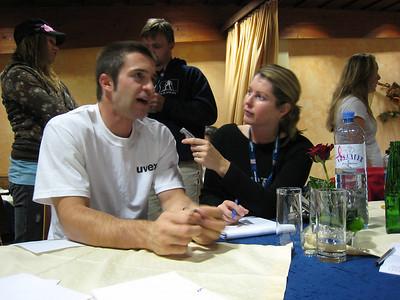 Dane Spencer chats with Associated Press writer Erica Bulman at the Audi press conference in Soelden, Austria (credit: Doug Haney/U.S. Ski Team)