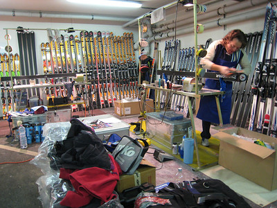 Resi Stiegler's skis get a final tune by her Dynastar technition for Saturday's giant slalom to open to the World Cup season (credit: Doug Haney/U.S. Ski Team)