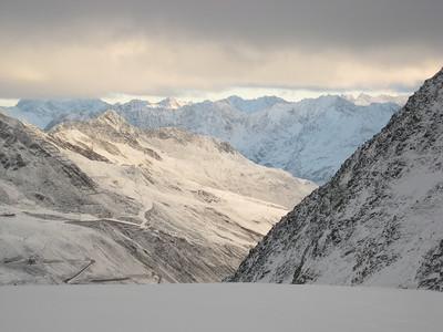 Clouds hang high over the village of Soelden (credit: Doug Haney/U.S. Ski Team)