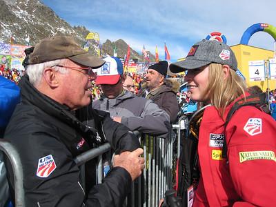 Lindsey Vonn chats with Gary Black of Ski Racing Magazine after finishing 13th in the season opening giant slalom (credit: Doug Haney/U.S, Ski Team)