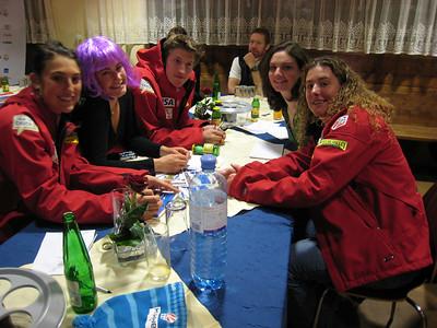 (l-r) Caitlin Ciccone, Resi Stiegler, Jimmy Cochran, Megan McJames and Stacey Cook at the Audi press conference in Soelden, Austria (credit: Doug Haney/U.S. Ski Team)