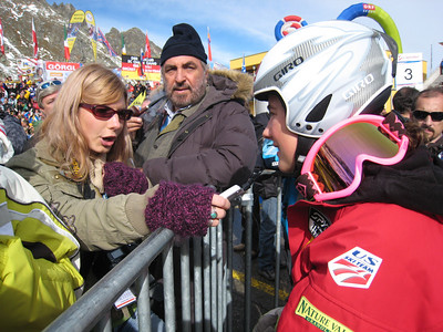 Resi Stiegler during an interview with the press (credit: Doug Haney/U.S, Ski Team)