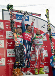 Ted Ligety (left) stands on the podium after finishing second in the Audi FIS Ski World Cup in Soelden, Austria. Norwegian Aksel Lund Svindal won with Finland's Kalle Palander third.