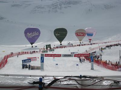Sponsor balloons line the bottom of the Soelden giant slalom course (credit: Doug Haney/U.S, Ski Team)