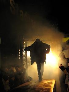 In true rock star fashion, Ted Ligety is introduced at the bib draw in Schladming through a fog machine (Doug Haney/U.S. Ski Team)