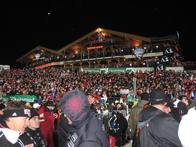 50,000 people pack the finish stadium and line the course in Schladming for the night slalom (Doug Haney/U.S. Ski Team)